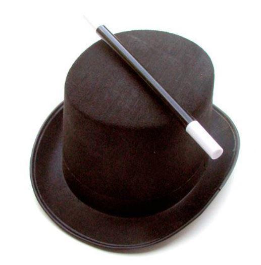 chapeau de magicien et baguette magique